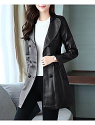 Недорогие -Для женщин На выход Осень Кожаные куртки V-образный вырез,Простой Однотонный Длинная Длинные рукава,Полиуретановая,Крупногабаритные
