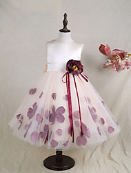 cheap -A-Line Ankle Length Flower Girl Dress - Satin Tulle Sleeveless Jewel Neck with Bow(s) Flower(s) by LAN TING BRIDE®
