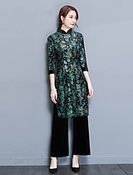 cheap -Women's Casual/Daily Simple Winter Set Dress Suits,Floral Round Neck Long Sleeve Silk