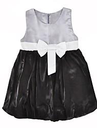 abordables -Robe Fille de Anniversaire Quotidien Couleur Pleine Points Polka Coton Polyester Printemps Automne Sans Manches Mignon Princesse Gris