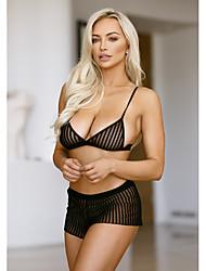 cheap -Women's Balcony Bras & Panties Sets Padless Bra,Nylon Black