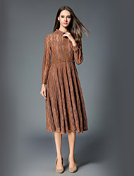 cheap -SHE IN SUN Women's Going out Work Vintage Casual A Line Dress,Solid Shirt Collar Midi Long Sleeve Polyester Fall Mid Rise Inelastic Opaque