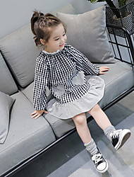 cheap -Girl's Holiday Casual/Daily Checks Dress,Cotton Polyester Spring Fall Long Sleeves Cute Black Red