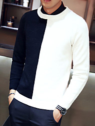 cheap -Men's Long Sleeves Pullover - Color Block Round Neck