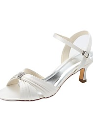 cheap -Women's Shoes Stretch Satin Summer Basic Pump Wedding Shoes Low Heel Open Toe Crystal for Dress Party & Evening Ivory