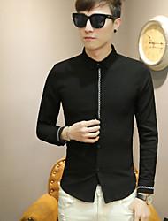 Masculino Camisa Social Para Noite Vintage Sólido Algodão Acrílico Colarinho de Camisa Manga Comprida