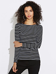 cheap -Women's Plus Size Casual Spring T-shirt,Striped Boat Neck Long Sleeves Cotton Medium