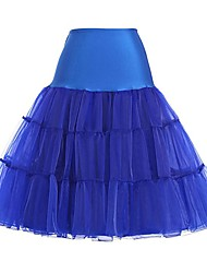 cheap -Classic Lolita Dress Princess Lolita Women's Skirt Petticoat Cosplay Ink Blue Fuschia Orange Blue Knee Length