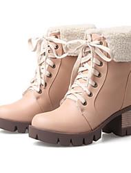 Недорогие -Жен. Обувь Полиуретан Весна Осень Ботильоны Удобная обувь Оригинальная обувь Ботинки На толстом каблуке Круглый носок Ботинки Заклепки для