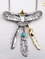 abordables -Hombre Pájaro Alas / Pluma Bohemio Rock Collares con colgantes Turquesa Legierung Collares con colgantes , Calle Noche