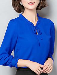 cheap -Women's Work Cute Street chic All Seasons Shirt,Solid Crew Neck Long Sleeve Polyester Medium