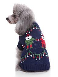 baratos -Gato Cachorro Súeters Roupas para Cães Natal Azul Escuro Fibras Acrilicas Ocasiões Especiais Para animais de estimação Homens Mulheres