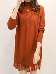 Dámské Jednoduchý Běžné/Denní Standardní Rolák Jednobarevné,Dlouhé rukávy Tričkový Polyester Zima Podzim Tlusté Lehce elastické
