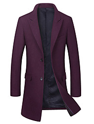 cheap -Men's Long Wool Coat - Solid Colored Shirt Collar