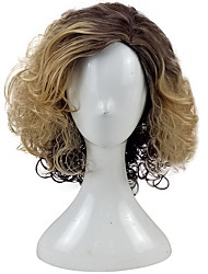 cheap -Women Synthetic Wig Medium Length Curly Golden Brown Ombre Hair Party Wig Natural Wigs Costume Wig