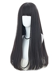 cheap -Synthetic Wig Straight With Bangs Synthetic Hair Natural Hairline Black Wig Women's Long Capless