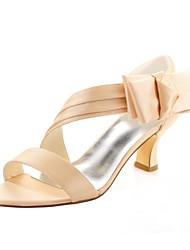 Недорогие -Жен. Обувь Стретч-сатин Лето Туфли лодочки Свадебная обувь На толстом каблуке Открытый мыс Жемчуг Аппликации Оборки сбоку для Для