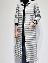 economico -Lungo Piumino Da donna,Cappotto Vintage Casual Tinta unita Cotone Poliestere Maniche lunghe
