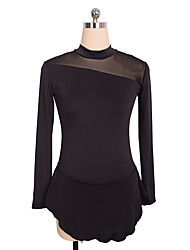 Figure Skating Dress Women's Girls' Ice Skating Dress Blue Black Spandex Inelastic Performance Practise Skating Wear Solid Long Sleeves