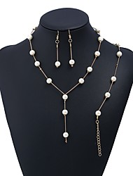 cheap -Women's Jewelry Set Imitation Pearl Simple Fashion Party Formal Alloy Line 1 Necklace 1 Bracelet Earrings