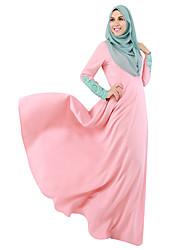 abordables -Ethnique et Religieux Jalabiya Abaya Robe Arabe Femme Fête / Célébration Déguisement d'Halloween Noir Gris Bleu Rose Couleur Pleine Style