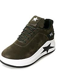 Недорогие -Для женщин Обувь Бархатистая отделка Нубук Зима Весна Модная обувь Кеды Туфли на танкетке Круглый носок Закрытый мыс Ботинки для