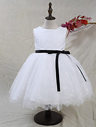 cheap -A-Line Knee Length Flower Girl Dress - Chiffon Satin Tulle Sleeveless Jewel Neck with Laces Bow(s) by LAN TING BRIDE®