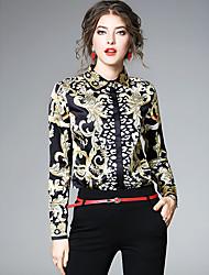 cheap -Women's Daily Sophisticated All Seasons Shirt,Print Shirt Collar Long Sleeve Polyester