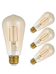 cheap -GMY® 4pcs 2W 180lm E27 LED Filament Bulbs ST58 2 LED Beads COB Edison Bulb Decorative LED Light Warm White 220-240V