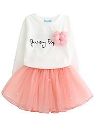 Pige Tøjsæt Daglig I-byen-tøj Ensfarvet Blomstret Bogstaver,Bomuld Polyester Forår Efterår Langt Ærme Sødt Afslappet Aktiv Lyserød