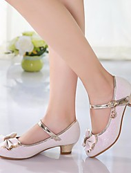 cheap -Girls' Shoes PU Spring Fall Tiny Heels for Teens Heels Bowknot for Casual Pink White
