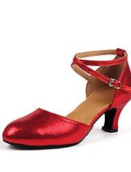 Недорогие -Жен. Обувь для модерна Дерматин На каблуках Каблуки на заказ Персонализируемая Танцевальная обувь Золотой / Красный / В помещении