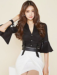 cheap -Women's Work Chic & Modern Street chic Cotton Shirt - Solid Colored, Vintage Style Deep V