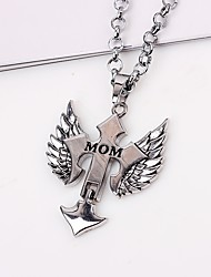 cheap -Men's Pendant Necklace / Chain Necklace - Cross, Wings Fashion, Hip-Hop Silver Necklace One-piece Suit For Gift, Daily