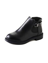 abordables -Mujer Zapatos PU Invierno Botas hasta el Tobillo Botas Tacón Cuadrado Dedo redondo Botines/Hasta el Tobillo para Casual Negro