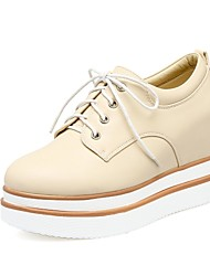 cheap -Women's Shoes Customized Materials / Leatherette Spring / Fall Novelty Oxfords Platform Square Toe White / Black / Beige