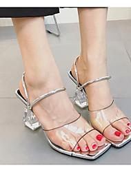 Feminino Sapatos Silicone Primavera Verão Conforto Sandálias Salto Robusto para Casual Prata