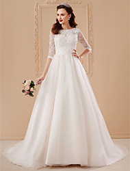cheap -Ball Gown Bateau Neck Sweep / Brush Train Tulle Over Lace Made-To-Measure Wedding Dresses with Appliques / Flower by LAN TING BRIDE® / Illusion Sleeve / See-Through / Beautiful Back