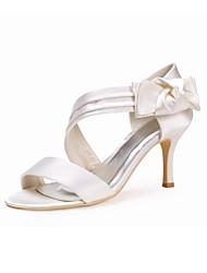 preiswerte -Damen Schuhe Seide Frühling Sommer Pumps Hochzeit Schuhe Stöckelabsatz Peep Toe Schleife für Hochzeit Party & Festivität Weiß Elfenbein