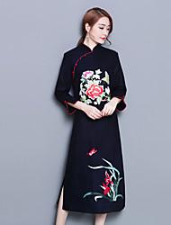 Feminino Solto Vestido,Diário Temática Asiática Estampado Colarinho Chinês Médio Manga Comprida Poliéster Inverno Outono Cintura Média