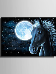 cheap -E-HOME® Stretched LED Canvas Print Art The Moon And The Horse LED Flashing Optical Fiber Print