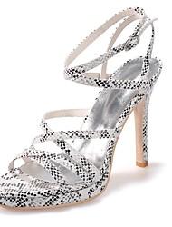 preiswerte -Damen Schuhe Kunstleder Frühling Sommer Pumps Sandalen Stöckelabsatz Offene Spitze für Kleid Party & Festivität Schwarz Purpur