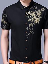 メンズ カジュアル/普段着 秋 シャツ,パンク&ゴシック シャツカラー フラワー コットン 半袖 ミディアム