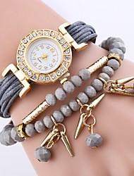 Недорогие -Жен. Кварцевый Часы-браслет Китайский Имитация Алмазный PU Группа Цветы На каждый день Эйфелева башня Богемные Мода Черный Синий Красный