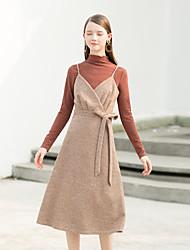 levne -Dámské A Line Šaty - Jednobarevné Do V Vysoký pas