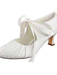 preiswerte -Damen Schuhe Stretch - Satin Frühling Herbst Pumps Hochzeit Schuhe Blockabsatz Runde Zehe Drapiert für Kleid Party & Festivität Elfenbein