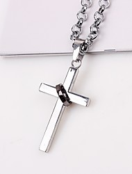 cheap -Men's Cross Pendant Necklace Chain Necklace  -  Casual Fashion Silver Necklace For Street Date