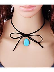 Недорогие -Жен. Свисающие Мода Ожерелья-бархатки Бирюза Шнур Бирюза Ожерелья-бархатки , Повседневные