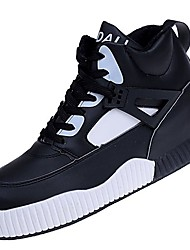 Women's Shoes PU Winter Fall Comfort Sneakers Flat Heel Round Toe for Casual White Black