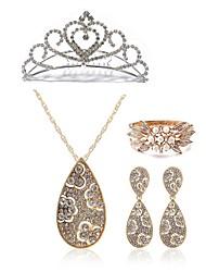 cheap -Women's Rhinestone Imitation Diamond Drop Jewelry Set Body Jewelry / 1 Necklace / 1 Ring - Fashion / European White Tiaras / Bridal